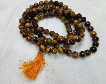 Tiger stone beads mala 6-7mm, 109 beads