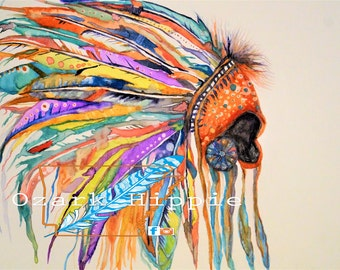 11x14 ~ War Bonnet~ Original Watercolor Matted
