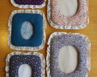 Quilted fabric laced picture frames (5)