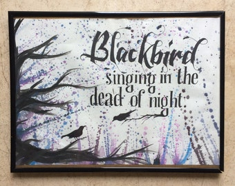 Watercolour splatter quote - 'Blackbird' by The Beatles