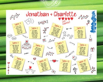 Tableau Mariage Post-it - Scribbling E - Wedding Seating Chart printable - Tables List - Weddingseat -