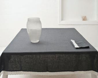 LINEN TABLECLOTH with lace - dark gray stonewashed linen tablecloth with white lace