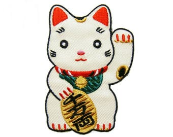 Maneki Neko Lucky Cat Patches Applique Embroidered Iron on Patch