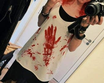 Bloody tanktop size S, M, L blood, top, shirt, horror, emo, gothic, punk