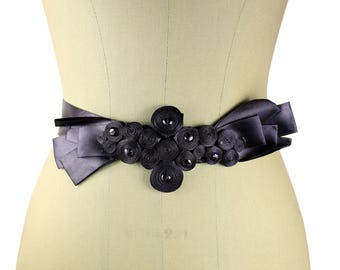 Vintage Belt of Trimmings with Black Satin Bow