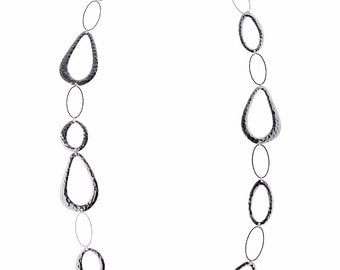 Silver Textured Chain Necklace