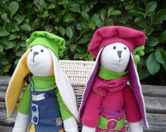 SALLE!!!2 bunny toys,2 Stuffed bunny ,2 Easter bunny,Tilda bunnies dolls,stuffed handmade fabric bunny,rabbit,two rabbits,two bunnies dolls