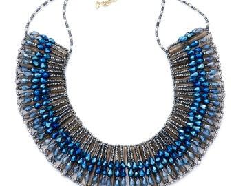 Beaded Rays Bib Necklace - Blue
