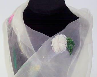 Hand Beaded White Rose Brooch