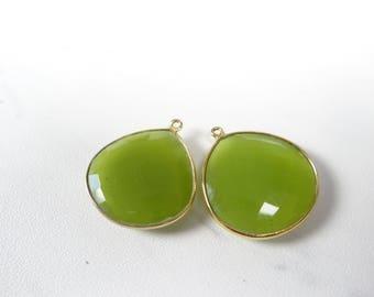 Lime green chalcedony vermeil heart pendant/29x25mm