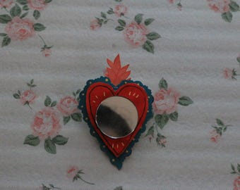 Flaming Heart Mirror Pin