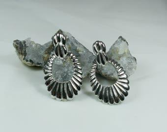 LES BERNARD Signed Silver Screw Back/Clip On Door Knob Earrings