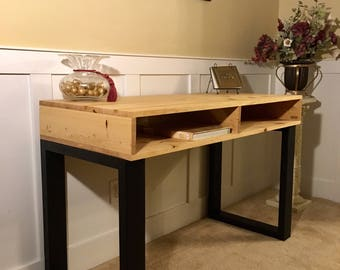 Mid century modern solid wood office desk in natural finish