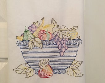 Embroidered fruit bowl kitchen towel