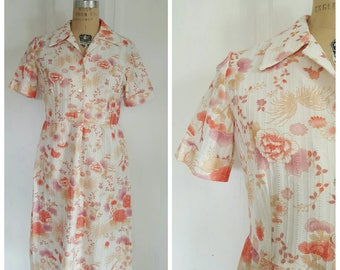 Vintage 50s cream day dress with floral print, button up, collar, size M/L