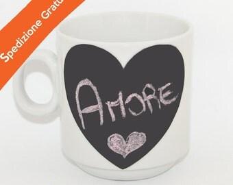 Ceramic mug with rewritable vinyl heart