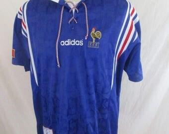 Rare vintage football Jersey Team France 14 Adidas Blue Size XL