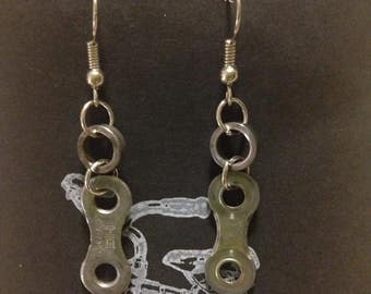 UpCycled Bicycle Chain Earrings (Plates & Rollers)