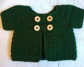 Crochet Cardigan, Buttoned Jacket, Baby Clothes, Infant Jacket, Crochet Jacket