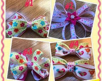 Spring hairbows with birds, flowers and bright colors in 4 different styles.