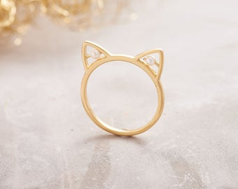 Gold Cat Ear Ring