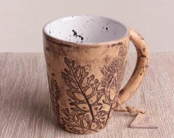 Ceramic pottery, coffee mug, stoneware, drinkware, modern, foliage mug, ceramic coffee mug, modern ceramic mug, ceramic cup, teacup, tea cup