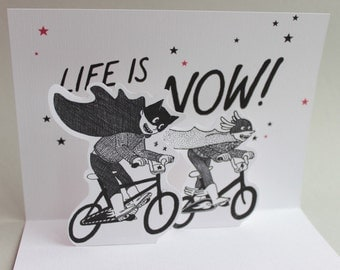 """Pop up card """"life is now"""" - with cover"""
