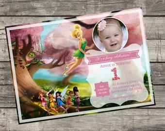 Personalized Tinkerbell Fairy Birthday Invitation- Digital file you print DIY 5x7
