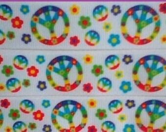 1 x Metre, PEACE SIGN, 1 inch, 25mm, Flower, Grosgrain. Ribbon