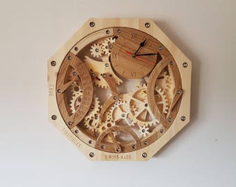 Skeleton Watch Clock Perpetual Calendar watch clock timepiece wood wooden gift wall hanging