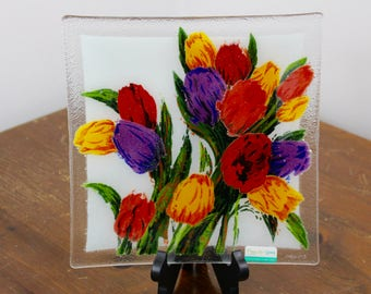 Peggy Karr Handcrafted Art Glass Tulip Plate, Square, 10-Inch