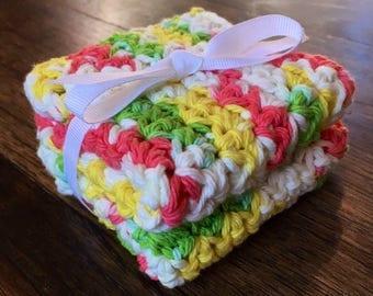Cotton Dishcloths - Handmade Crochet Kitchen Cleaning Cloths - Yellow, Green, Pink & White - Set of 2