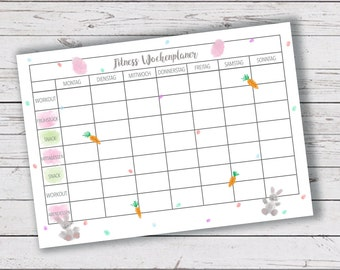 Fitness Wochenplaner | Ostern | Easter | Meal Plan | Fitness Plan | pastel