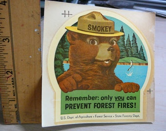 1959 SMOKEY The Bear Transfer Sticker Remember: Only You Can Prevent Forest Fires!
