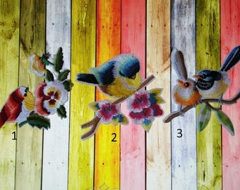 Colorful Birds On Branches Iron On Patches
