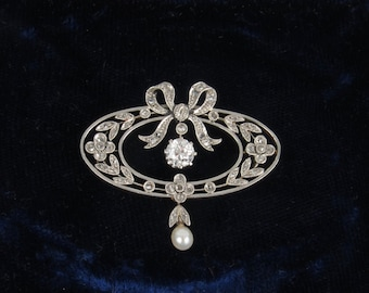 Belle Epoque Diamond and Pearl Bow and Laurel Brooch