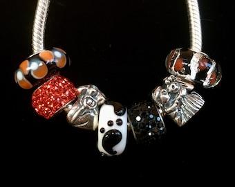 Sterling Silver Bracelet, Large Hole Beads, Charm Bracelet, Pandora Style Bracelet, Wedding Charm, Murano Glass Beads