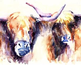 Highland Cows Watercolor Print