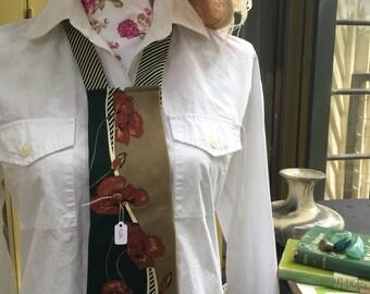 Statement vintage silk neckpiece/necklace in green and cream tones