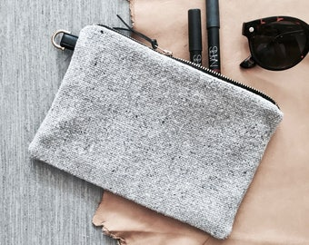 Handmade Small Clutch | Bag | Purse - Monochrome with leather and brass details