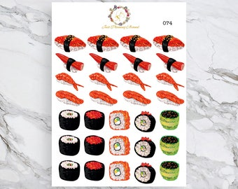 Sushi and Sashimi Stickers, Sushi Stickers, Sashimi Stickers, Japanese Food, Food Stickers