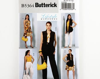 Vintage Butterick Pattern 5364, Wardrobe, Jacket, Top, Dress, Pants and Sash, Uncut, Sizes 8-14, Easy Sewing Pattern, Straight Leg Pant