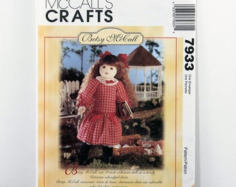 "Vintage McCall's Pattern 7933, Betsy McCall Doll and Clothes Sewing Patterns, Victorian Schoolgirl Dress for 18"" Doll, Face Transfer, UNCUT"