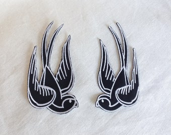 2x Swallow birds Rockabilly Black & White Iron On Embroidered Patch Patches
