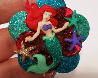 Little Mermaid Ariel badge clip