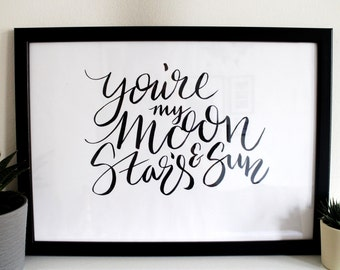 Brush Lettered Typography 'You're my Moon...'