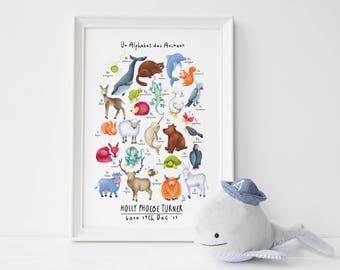 Animal Alphabet Poster, Alphabet Print, Nursery Animal Print, Nursery Wall Art Animals, Personalised Gift, Alphabet Poster, Wall Art Prints