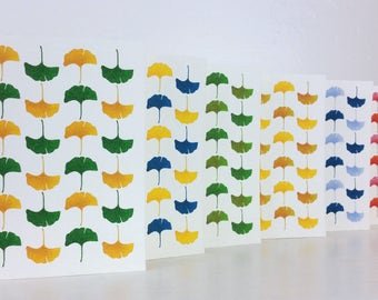 """Instant Download - Printable Greeting Card - Colorful Ginkgo Leaves - Blank Inside - 3.5""""x5"""""""