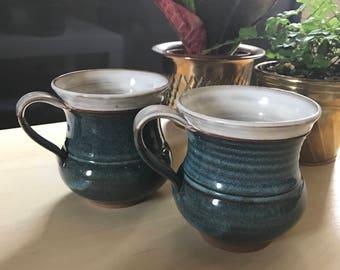 Set of mugs, studio mugs, blue hand thrown mugs, vintage mugs, boho mugs,