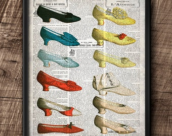 19th Century Fashion · Vintage · Digital File · Collage · Wall · Shoes · Printable · Instant Download #6